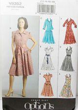 Vogue Patterns #V8352 Misses Dress Drop Waist Skirt Variations Size(14-16-18-20)