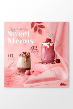 Cake Logo Design, Banner Design, Social Media Banner, Social Media Design, Web Banner, Banner Template, Drink Menu Design, Valentine Drinks, Food Graphic Design