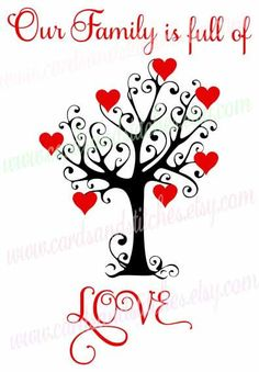 Family Tree SVG - Valentine Tree SVG - Love Hearts SVG - Digital Cutting File - Cricut Cut - Instant Download - Svg, Dxf, Jpg, Eps, Png by cardsandstitches on Etsy