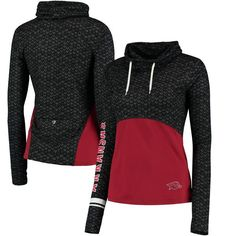 Arkansas Razorbacks Colosseum Women's Scaled Cowl Neck Pullover Hoodie - Black/Cardinal - $54.99