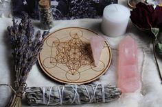 Altar tools bundle, sacred geometry crystal grid, pendulum, rose quartz tower, sage, lavender, vintage witches post card