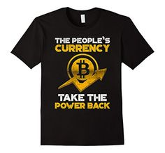 Mens Bitcoin People's Currency TShirt Logo 2017 Crypto Currency Black