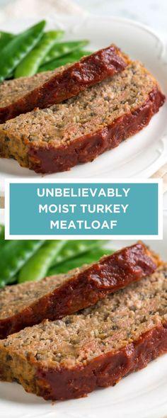 Moist Turkey Meatloaf Learn the secret for making the best turkey meatloaf.Learn the secret for making the best turkey meatloaf. Moist Turkey Meatloaf, Turkey Loaf, Healthy Meatloaf, Meatloaf Muffins, Meatloaf With Stuffing, Moist Meatloaf Recipes, Mushroom Meatloaf, Chicken Meatloaf, Healthy Recipes