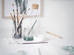 Behind the scenes • My Deer Art Shop #watercolor #studio #mydeerartshop #artstudio #artprints #walldecor #wallart #paint #pencils #atelier