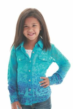 SALE! Girl's Turquoise Burnout Snap Arena Shirt, youth button up, Cowgirl Tuff Company, little cowgirl clothing, http://www.bunkhousewestern.com/Girl_s_Turquoise_Arena_Shirt_by_Cowgirl_Tuff_Compa_p/7291.htm