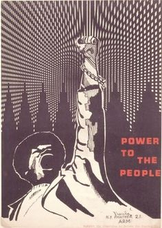 """""""Power to the People,"""" c. 1970.  Source: Dhoruba; Committee to Defend the Panther 21, ARM  ARM stands for Artists Revolutionary Movement. Historian Roz Payne notes it was the American Revolutionary Movement, a loose group of activists in NY working to defend the Panther 21. Dhoruba was not the artist but signed the poster. The Panther 21 were the leadership of the eastern region of the Black Panther Party who were arrested April 2, 1969 and charged with conspiracy to blow up various public…"""