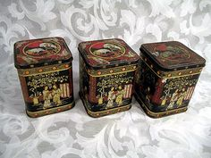 "Sold Lot of 3 Vintage Antique Chinese Tea Tin 4.25"" Tall x 3.5"" Square"
