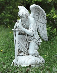The Saint Michael Garden Statue is the perfect addition to any outdoor or indoor space. Browse the selection of statuary at Monastery Icons. Monastery Icons, Angel Wings Drawing, Male Angels, Outdoor Garden Statues, Cemetery Angels, Prayer Garden, Statues For Sale, Angel Sculpture, Angel Statues