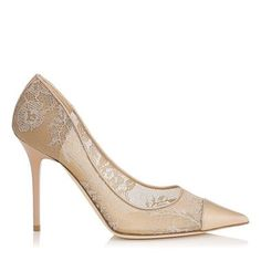 Nude Lace and Patent Pointy Toe Pumps