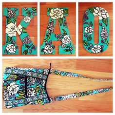 Sorority craft. Kappa Alpha Theta Letters. Island Blooms. Vera Bradley Inspired.