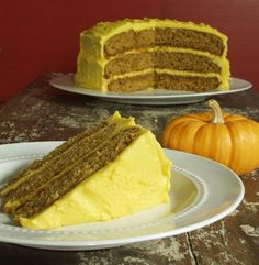 GF Pumpkin Cake with Ginger Buttercream Frosting