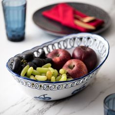 Traditional Blue & White Hand-Painted Oval Bowl - Small Accent Decor, Serving Bowls, Decorative Bowls, Blue And White, Hand Painted, Apple, Traditional, Fruit, Tableware