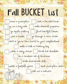 FREE Fun fall bucket list printable!