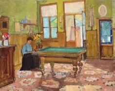 Márffy Ödön - Zöldfalú biliárdszoba, 1906 körül