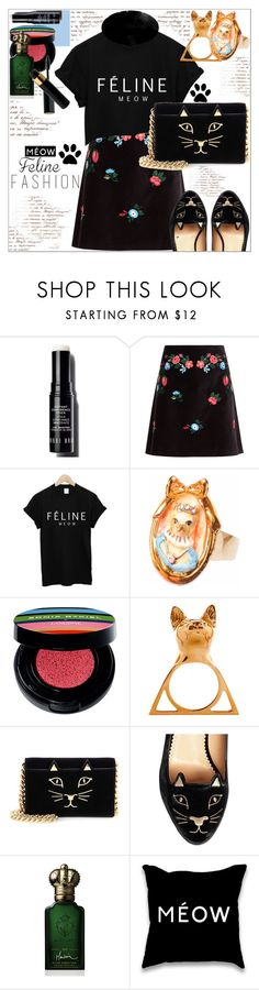 """Feline Fashion"" by dragananovcic ❤ liked on Polyvore featuring Bobbi Brown Cosmetics, VIVETTA, Hop Skip & Flutter, Lancôme, Glenda López, Charlotte Olympia, Clive Christian, contestentry, polyvoreeditorial and catstyle"