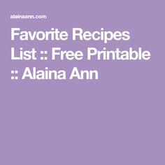 Favorite Recipes List :: Free Printable :: Alaina Ann