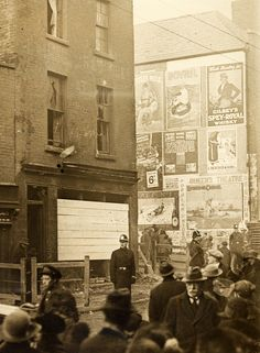 """National Library of Ireland on The Commons """"Street scene with advertising hoardings"""" Corner of Summerhill and Langrishe Place. What Is Christmas, Father Christmas, A Christmas Story, Christmas Holidays, Christmas Paper, Old Pictures, Old Photos, Dublin Street, Dublin City"""