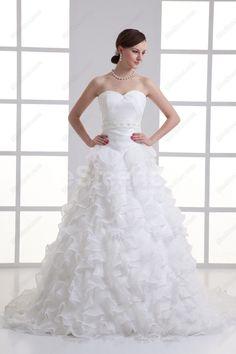 Organza Sweetheart A line Sweep train Sash Wedding Dress