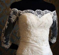 Off the Shoulder Lace Bolero Wedding | Off-Shoulder Italian Lace Bridal Bolero Jacket by IHeartBride Adelaide ...