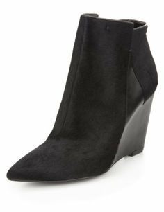 Autograph Ponyskin Pointed Toe Wedge Ankle Boots with Insolia®-Marks & Spencer