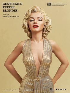 """Marilyn Monroe as Lorelei Lee from """"Gentlemen Prefer Blondes."""" Height: approx 17"""" (inches). By Blitzway, with artist K A Kim. Released in the UK: June 2015. #MarilynMonroe #MarilynMonroeFigurine #MarilynMonroeFigurines #Blitzway #GentlemenPreferBlondes"""