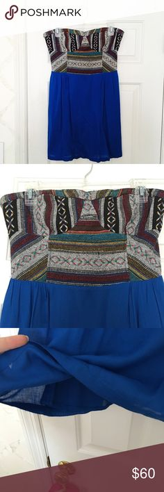 Urban Outfitters Strapless Dress Only worn once, in almost perfect condition! Really cute UO strapless dress with a cute boho woven design, double lining, and back zipper. Love this dress! Urban Outfitters Dresses Strapless