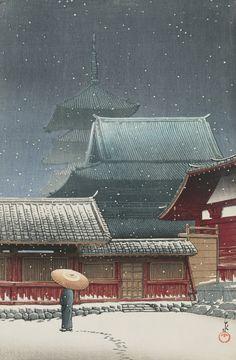 The Temple Tennoji, Osaka (Osaka Tennoji) by Kawase Hasui