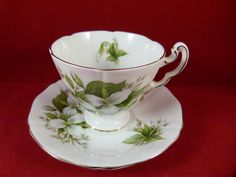 Trillium Flower Cup and Saucer by Royal Adderley by trilliumantiques on Etsy, $28