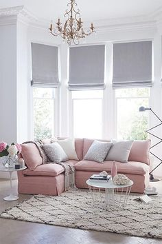 There's been a lot of buzz in design circles around blush pinks in interiors this year, and it's a trend that we are really excited about. Many people choose to avoid pink altogether in fear that they will create something similar to Barbie's Dreamhouse, Elegant Living Room, Living Room Grey, Home And Living, Modern Living, Blinds In Living Room, Small Living, Corner Sofa Living Room Small Spaces, Blush Pink Living Room, Pastel Living Room