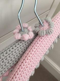 crochet hangers: Kate Eastwood's Pretty Crochet Hanger Covers on the… Crochet Hook Set, Crochet Coat, Love Crochet, Crochet Gifts, Crochet Baby, Wooden Hangers, Diy Hangers, Clothes Hangers, Bobble Stitch