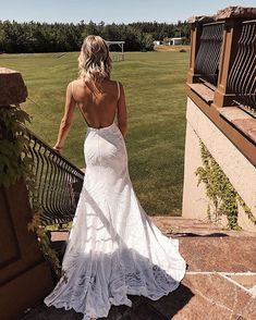 Elegant Mermaid Spaghetti Straps Lace V Neck Ivory Wedding Dresses Bridal Dresses - New ideas High Street Wedding Dresses, Wedding Dress Low Back, Backless Wedding, Wedding Dress Trends, Long Sleeve Wedding, Dream Wedding Dresses, Wedding Gowns, Tule Wedding Dress, October Wedding Dresses