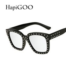 4cadb68e8100bc HapiGOO Vintage Square Sunglasses Women Mirror 2017 New Fashion Brand  Designer Sun Glasses For Female Big