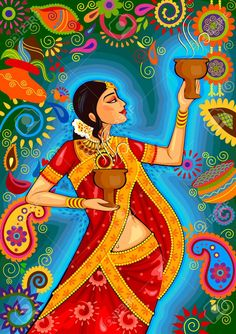 Illustration of design of Indian woman doing dhunuchi dance of Bengal during Durga Puja Dussehra celebration in India vector art, clipart and stock vectors. Diwali Painting, Durga Painting, Cherokee Indian Art, Indian Folk Art, Dance Paintings, Indian Art Paintings, Watercolor Paintings, Madhubani Art, Madhubani Painting