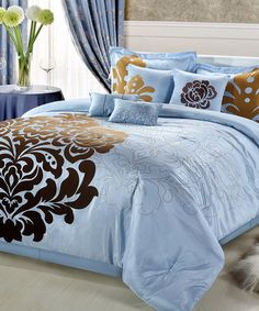 Blue Lakhani Embroidered Comforter Set on #zulily. This would be PERFECT in Lavender...