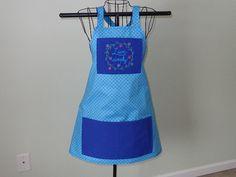 Print Full Apron  Blue  Vintage   Handmade  by MariesClassicHome