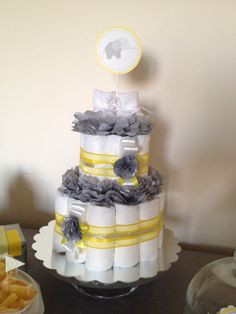 Diaper cake elephant theme yellow and grey