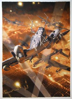 """""""German Bf-110 in Combat against British Lancaster Bombers""""  by Daniel Bechennec"""
