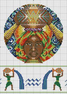 Aquarius and African x-stitch