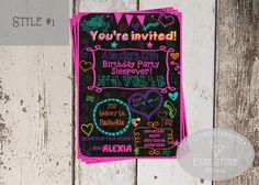 Girl's Sweet 16-Tween-Teen-Sleepover-chalkboard birthday invitation- Digital &printable-Glow party-neon-doodle invite
