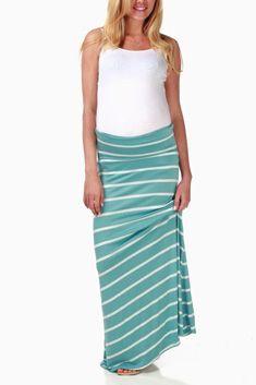 Light Blue White Striped Maxi Maternity Skirt #maternity #fashion