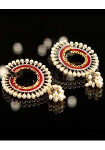 Red Pearl Beauty — Vasundhara Mantri — Dangling Earrings | Indianhanger.com