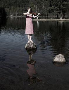 Violinist in a lake
