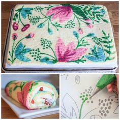 Simply Delicious Cake Design: FREE Patterned Roll Cake Recipe + Tutorial - - Fondant and buttercream are probably the most common mediums for decorating a cake, but did you know you can also bake a design right into your cake before baking? Cake Decorating Techniques, Cake Decorating Tutorials, Decorating Cakes, Cupcakes, Cupcake Cakes, Bolo Original, Strawberry Roll Cake, Swiss Roll Cakes, Elegante Desserts
