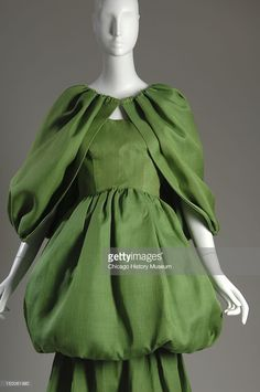 Evening dress with cape, 1961 (front partial view). Silk gazaar by Cristobal Balenciaga.