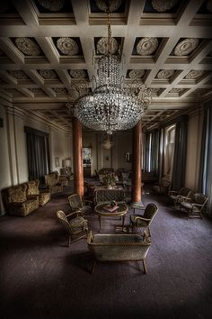 """Grand lobby of the Overlook Hotel. Abandoned  Movie set of the """"Overlook Hotel"""" in the Shining movie."""