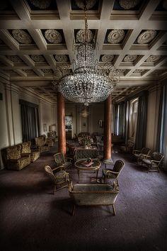 Grand lobby. Abandoned hotel.