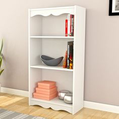 CorLiving S-017-NHL Hawthorn 48 in. Bookcase - Frost White - LHN-710-S