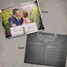 Vintage Wedding Thank You Post Card. $65.00, via Etsy.