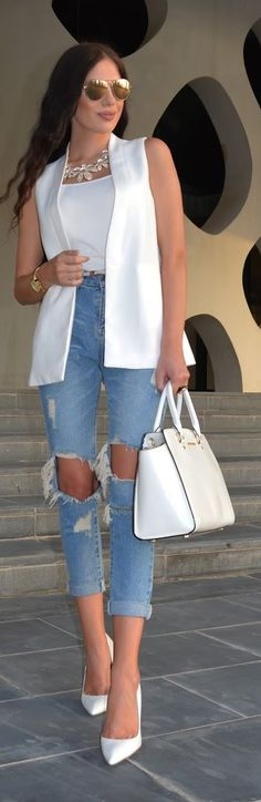 White And Blue Casual Chic Style by Laura Badura Fashion