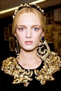 Dolce & Gabbana F/W 2012 Gold Metal Shoulder Detailing